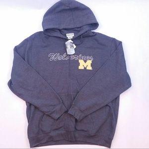New maize & blue Michigan zippered hoodie size XL